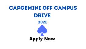 Capgemini Off Campus Drive 2021