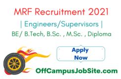 MRF Recruitment 2021 Engineers Supervisors MRF Job Vacancy 2021