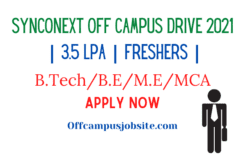 Synconext Off Campus Drive 202 3.5 LPA Freshers