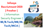 Infosys Recriutment 2021 Fresher Information Security Engeer
