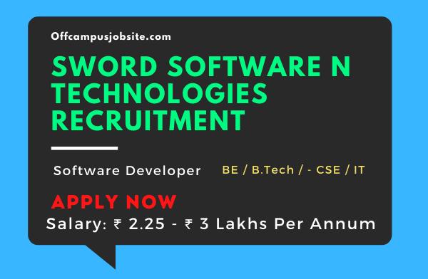 Sword Software N Technologies Recruitment B.EB.TECH Freshers (0-1 Years)