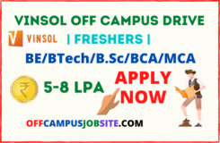 Vinsol Off Campus Drive 2021 Freshers BEBTechB.ScBCAMCA