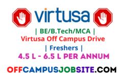 Virtusa Off Campus Drive Freshers